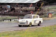 Ford Anglia Broadspeed. Anita Taylor. Brands Hatch August 1966 colour
